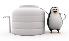 3d penguin standing by water storage tank concept Royalty Free Stock Photo