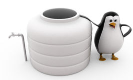 3d penguin standing by water storage tank concept Stock Image