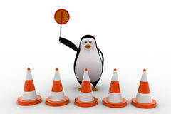 3d penguin stop from entering and holding stop sign concept Stock Images