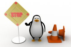 3d penguin with stop illustration Stock Image