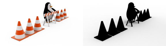 3d penguin with stop symbol and traffic cones concept collections with alpha and shadow channel Royalty Free Stock Photos