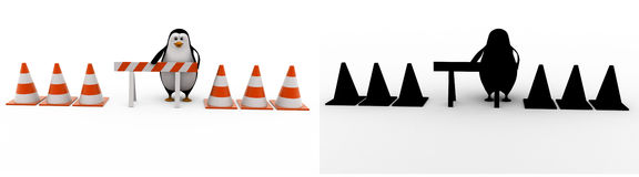 3d penguin with stop symbol and traffic cones concept collections with alpha and shadow channel Stock Photography