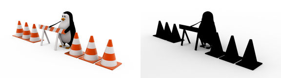 3d penguin with stop symbol and traffic cones concept collections with alpha and shadow channel Stock Photo