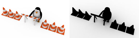 3d penguin with stop symbol and traffic cones concept collections with alpha and shadow channel Royalty Free Stock Photography