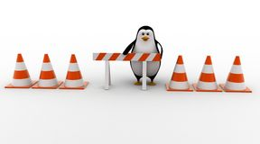 3d penguin with stop symbol and traffic cones concept Royalty Free Stock Images
