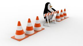 3d penguin with stop symbol and traffic cones concept Royalty Free Stock Photography