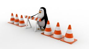3d penguin with stop symbol and traffic cones concept Royalty Free Stock Photos