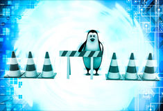 3d penguin with stop symbol and traffic cones illustration Stock Images