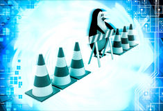 3d penguin with stop symbol and traffic cones illustration Royalty Free Stock Photo