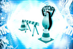 3d penguin with stop traffic cones illustration Stock Photography