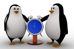3d penguin with stop watch concept Stock Image