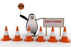 3d penguin stop for work in progress concept Royalty Free Stock Image