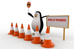 3d penguin stop for work in progress concept Royalty Free Stock Photos