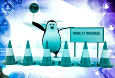 3d penguin stop for work in progress illustration Royalty Free Stock Photography