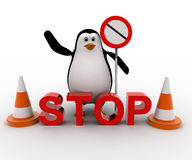 3d penguin stoping from entering with stop sign board and traffic cones concept Royalty Free Stock Photos