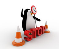 3d penguin stoping from entering with stop sign board and traffic cones concept Royalty Free Stock Photography
