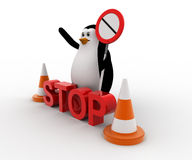 3d penguin stoping from entering with stop sign board and traffic cones concept Royalty Free Stock Images