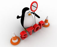 3d penguin stoping from entering with stop sign board and traffic cones concept Stock Photography