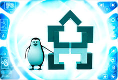 3d penguin with structure made of rectangular corners illustration Royalty Free Stock Photos