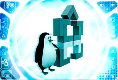3d penguin with structure made of rectangular corners illustration Stock Images