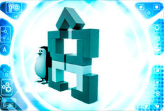 3d penguin with structure made of rectangular corners illustration Royalty Free Stock Images