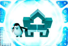 3d penguin with structure made of rectangular corners illustration Royalty Free Stock Photo