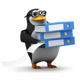 3d Penguin student filing Royalty Free Stock Image