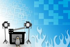 3d Penguin With Studio light ,movie clapper on a film reel illustration Royalty Free Stock Photo