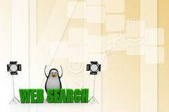 3d  penguin with studio light and web search text Illustration Stock Photo