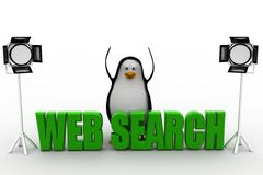 3d  penguin with studio light and web search text Royalty Free Stock Photography