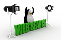 3d  penguin with studio light and web search text Royalty Free Stock Images