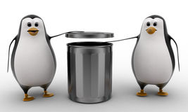 3d penguin suggent to throw in dustbin concept Royalty Free Stock Image