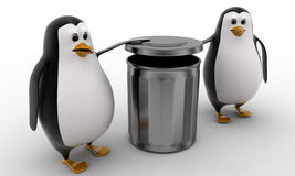 3d penguin suggent to throw in dustbin concept Royalty Free Stock Photography