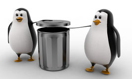 3d penguin suggent to throw in dustbin concept Royalty Free Stock Photos