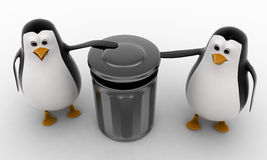 3d penguin suggent to throw in dustbin concept Stock Photography