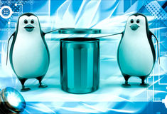 3d penguin suggent to throw in dustbin illustration Royalty Free Stock Images