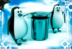 3d penguin suggent to throw in dustbin illustration Stock Photography