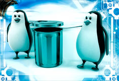 3d penguin suggent to throw in dustbin illustration Royalty Free Stock Photos