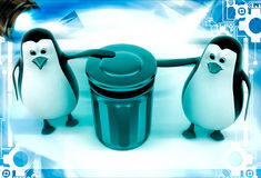 3d penguin suggent to throw in dustbin illustration Stock Photo