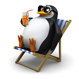 3d Penguin sunbathes with a drink Royalty Free Stock Photos