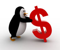 3d penguin supporting red dollar symbol concept Stock Images