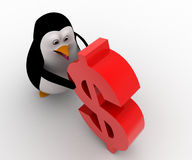 3d penguin supporting red dollar symbol concept Royalty Free Stock Image