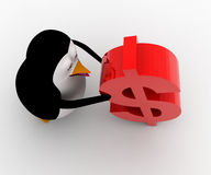 3d penguin supporting red dollar symbol concept Royalty Free Stock Photography