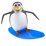 3d Penguin on a surfboard Royalty Free Stock Photo