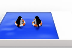 3d penguin swimming in pool with float and another penguin concept Royalty Free Stock Photography