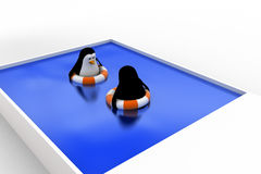 3d penguin swimming in pool with float and another penguin concept Royalty Free Stock Photos