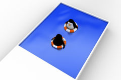 3d penguin swimming in pool with float and another penguin concept Stock Image