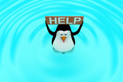3d penguin swimming in water with HELP board in hand concept Royalty Free Stock Image