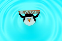 3d penguin swimming in water with SAVE board in hand concept Stock Photo