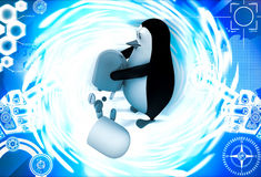 3d penguin taking out medicine from big capsule illustration Stock Photo